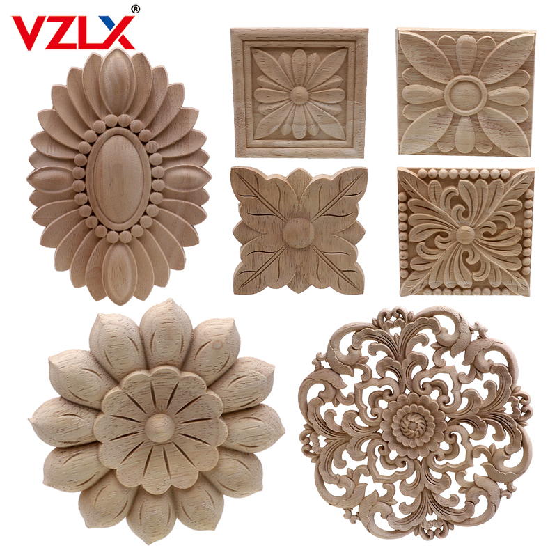 Carved-Decal Applique-Frame Decorative Miniature-Craft Cabinet-Door Unpainted Wood Wooden title=