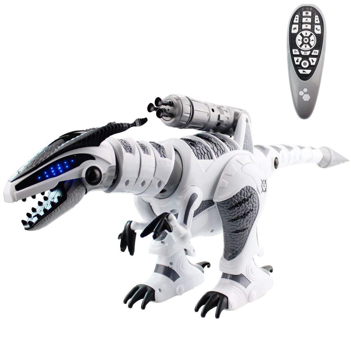 Jouets dinosaures robot rc Intelligent Interactif Smart Marcher Danse Chanter Électronique Animaux L'éducation jouets pour enfants blanc Gris