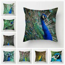 Fuwatacchi Blue Peacock Throw Pillow Cover 45X45cm Animal Cushion Bird Flowers Printing Peach Skin Velvet