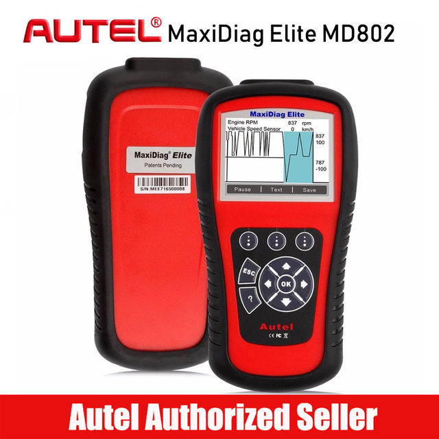 AUTEL MaxiDiag Elite MD802 All System OBD2 Car Code Reader Scanner Auto Diagnostic for ABS/SRS/Engine/Transmission/EPB/Oil Reset