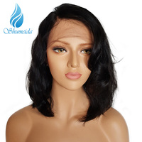 SHUMEIDA Glueless Lace Front Human Hair Wigs Pre Plucked Short Human Hair Bob Wig Remy Brazilian