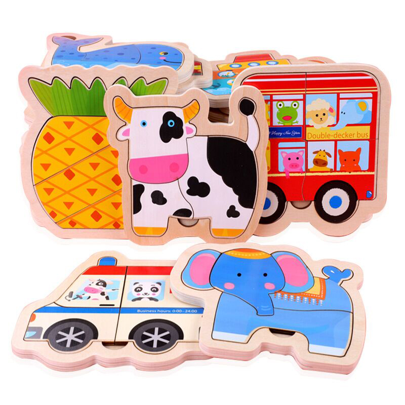Wooden Baby Toy 3D Puzzles Jigsaw Board Colorful Animals Vehicles Fruts Cartoon Shapes Puzzle Toy For Children Baby Boys Girls