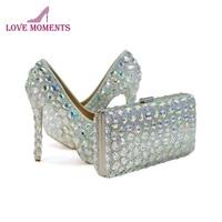 Crystal AB свадебные туфли тонкий каблук женские выходные туфли лодочки для выпускного с подходящая Сумочка Великолепная Свадебная обувь с кла