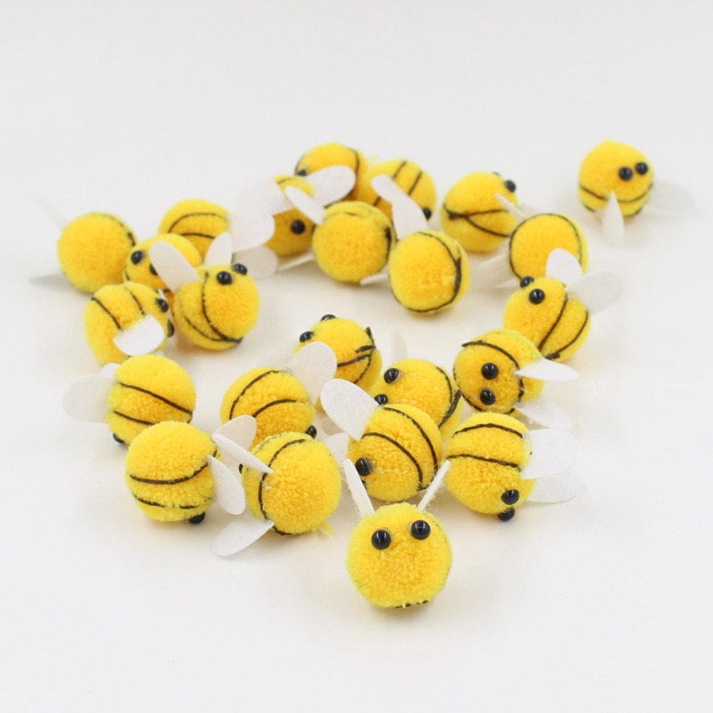 Pompom 20mm Yellow bee Soft Pompones Fluffy Plush Crafts DIY Pom Poms Ball Furball Home Decor Sewing Supplies(China)