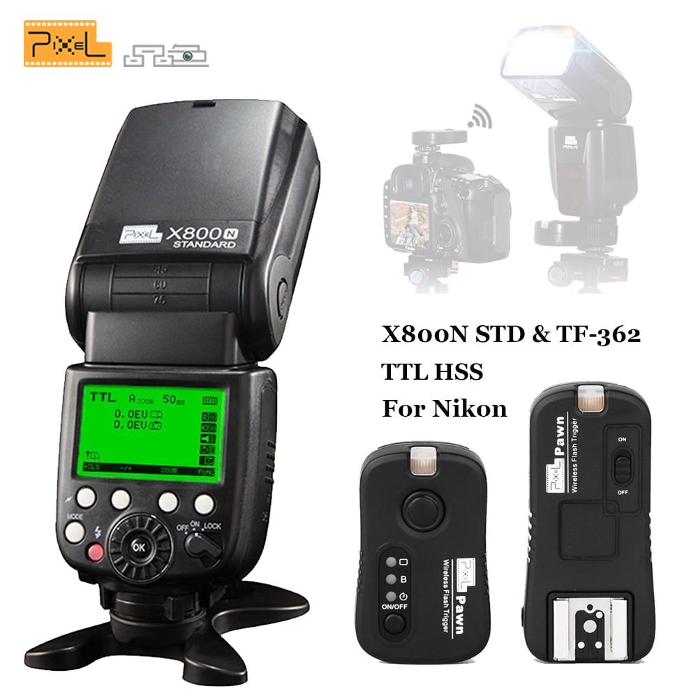 For Nikon d3100 d7100 d90 d5300 d7200 DRSL PIXEL X800N Standard TTL Radio GN60 Wireless Flash Speedlite & TF-362 Flash Trigger макрокольца для nikon d3100 в иваново