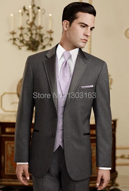 Por encargo Slim Fit novio esmoquin gris carbón padrinos de Notch satén de la solapa hombres Wedding los trajes cena Jacket + Pants + Tie + chaleco