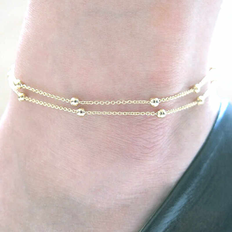ゴールドシルバーシックな簡潔な二重層ブライダル結婚式チェーンチャームビーズ脚ブレスレットアンクレット女性