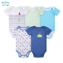 5 Pieces/lot Newborn Baby Romper Short-Sleeve Cotton Print Summer Baby Boy Clothes Baby Sleepwear Infant Jumpsuits Clothing Set