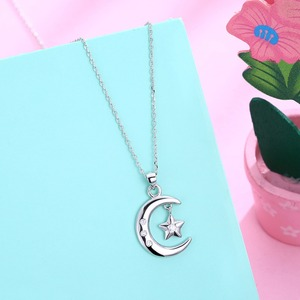 Image 3 - Мусульманское ожерелье с подвеской в виде полумесяца из стерлингового серебра 925 пробы с кубическим цирконием, ожерелье с Луной и звездой, ювелирные изделия для женщин