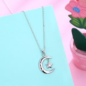 Image 3 - Muslim Crescent Pendant Necklace 925 Sterling Silver Cubic Zirconia CZ Islam Moon Star Necklace Jewelry Colar de Prata Women