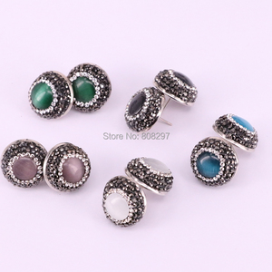 Image 3 - 12Pair Round shape pave crystal rhinestone mix color cat eye stone stud earrings fashion jewelry finding