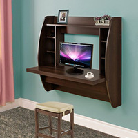 Homedex Wall Mounted Floating Desk With Storage Brown