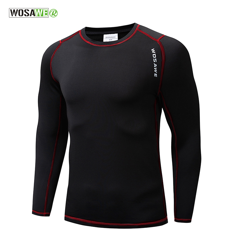 WOSAWE Long Sleeve Cycling Base Layer Winter Warmth Bicycle Running Bodybuilding Bike Clothes Jersey Sports Underwear Clothing