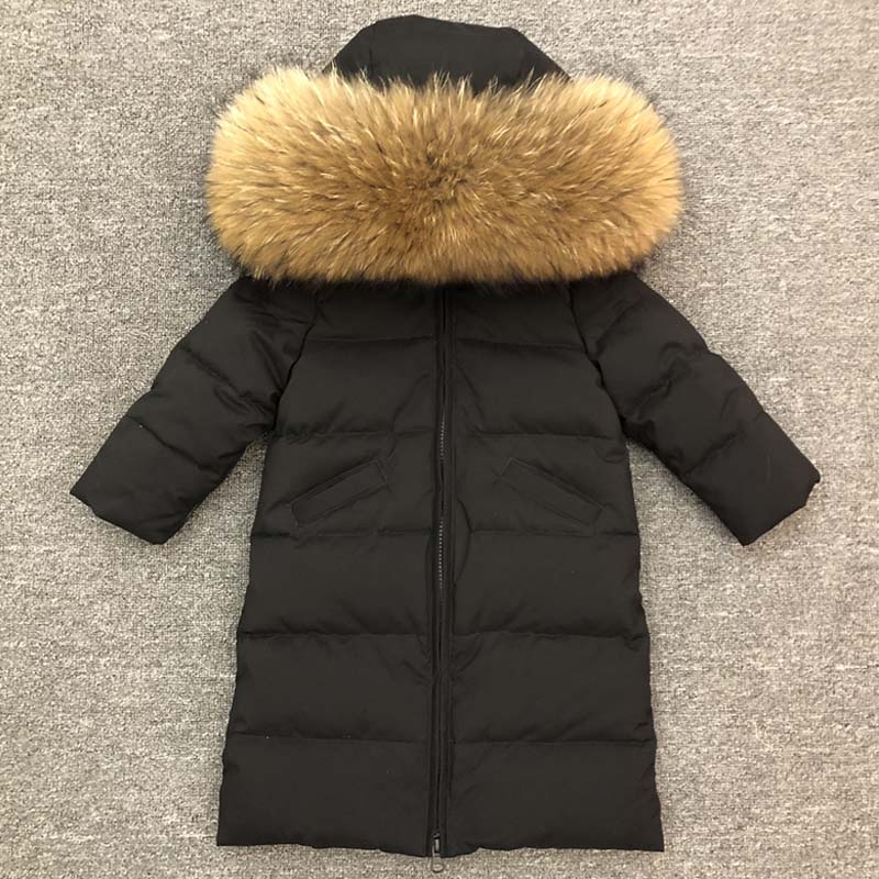 цены -30 Degrees Girls Clothing Warm Down Jacket for Boys Clothes 2018 Winter Thicken Parka Real Fur Hooded Children Outerwear Coats