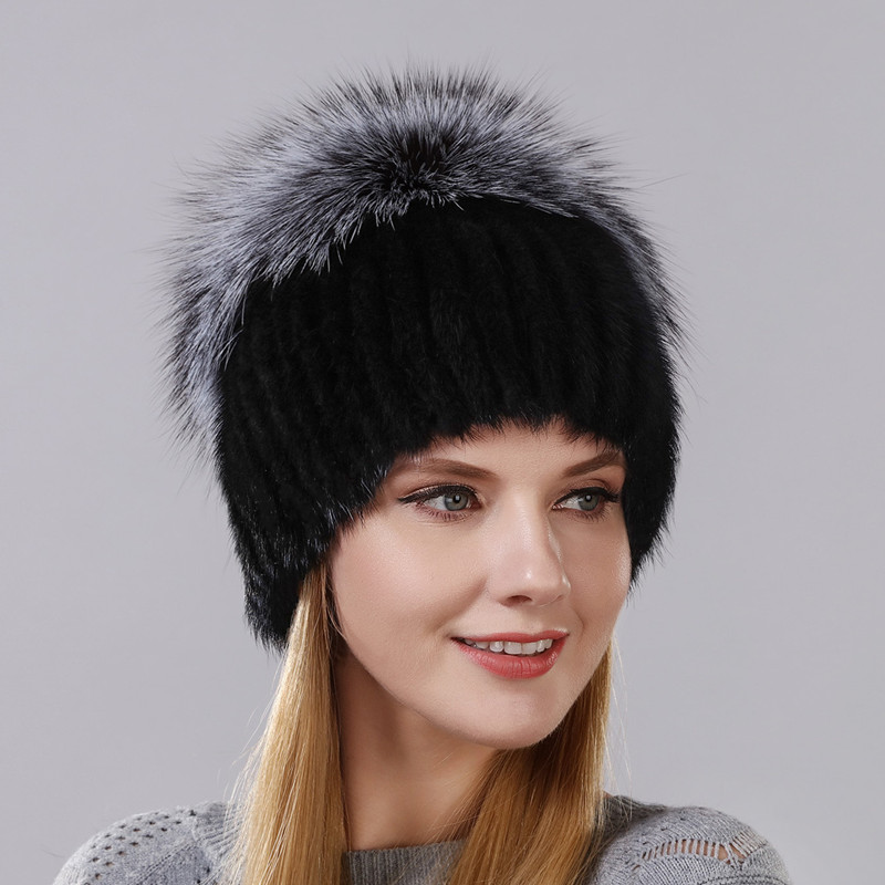 Hot Style Female Mink Fur Cap For Women Winter Warm Hat Vertical Knitted Mink With Fluffy
