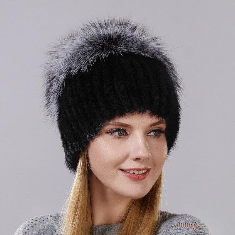 Горячие Стиль женский норки Мех Кепки для Для женщин зима теплая шапка вертикальные вязаной норки с пушистый Silver Fox часть меньше на top hat
