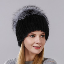 Hot Style Female Mink Fur Cap For Women Winter Warm Hat Vertical Knitted Mink With Fluffy Silver Fox Part Less On The Top Hat 2016 hot selling lady s the new mink fur mink hat knit cap children winter thickening warm winter hat free shipping 3color sd21
