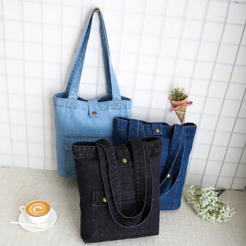 Casual Fashion Hasp Design Black Blue Flap Pocket Denim Pocket Vintage Women Tote Bags Lady Handbags Jeans Denim Shoulder Bags
