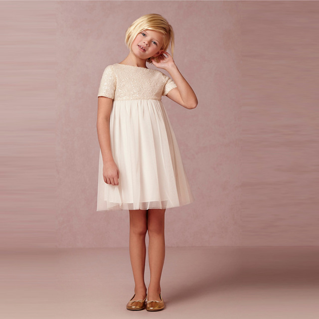 35277a864e7 Ivory Sequin Top A Line Empire Knee Length Flower Girl Dresses For Weddings  2016 Short Sleeves First Communion Dresses for Girls