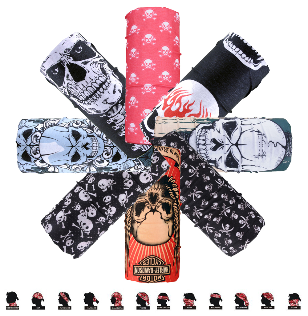 9 Style Skeletons Polyester Scarves Face Dust Mask Outdoor Sports Bandana Scarf Camping Hiking Cycling Headwear Magic Scarves