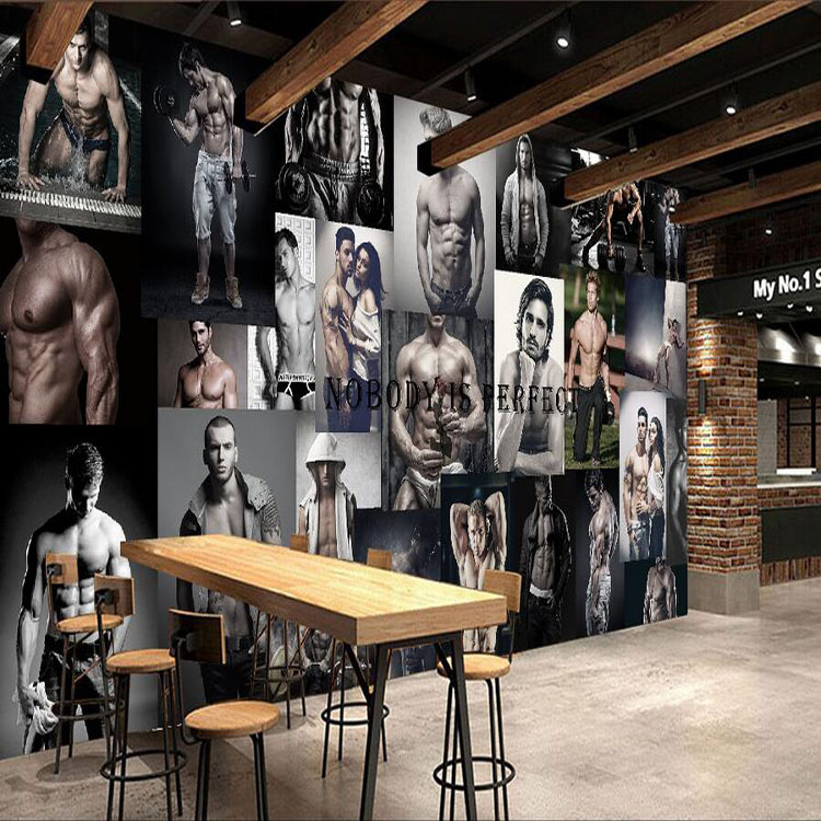 Free shipping gym yoga room boxing gym murals 3d fashion men women