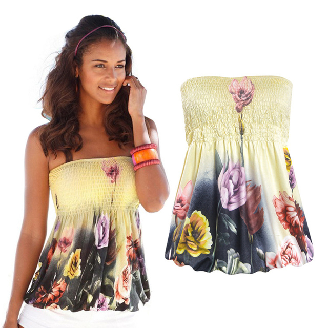 24932b110394 women summer fashion sexy strapless elastic bra floral tops shirts lady  all-match wrap chest strapless tops off shoulder shirts