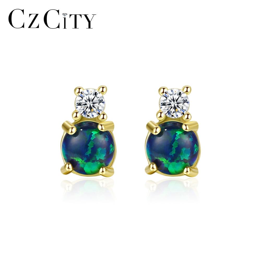 CZCITY Real Round Fire Opal Stud Earrings For Women 925 Sterling Silver Fine Jewelry Boucles D Oreille Bijoux Femme Gifts SE0415