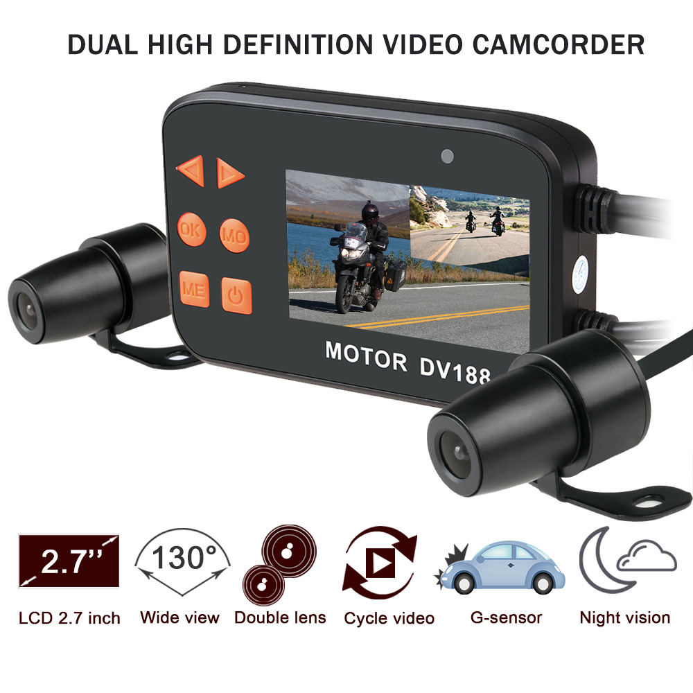 цены Fodsports DV188 Full 1080P Motorcycle DVR Waterproof Motorbike Camera Car Vehicle Cam Dual Lens Dashcam Moto Video Camcorder