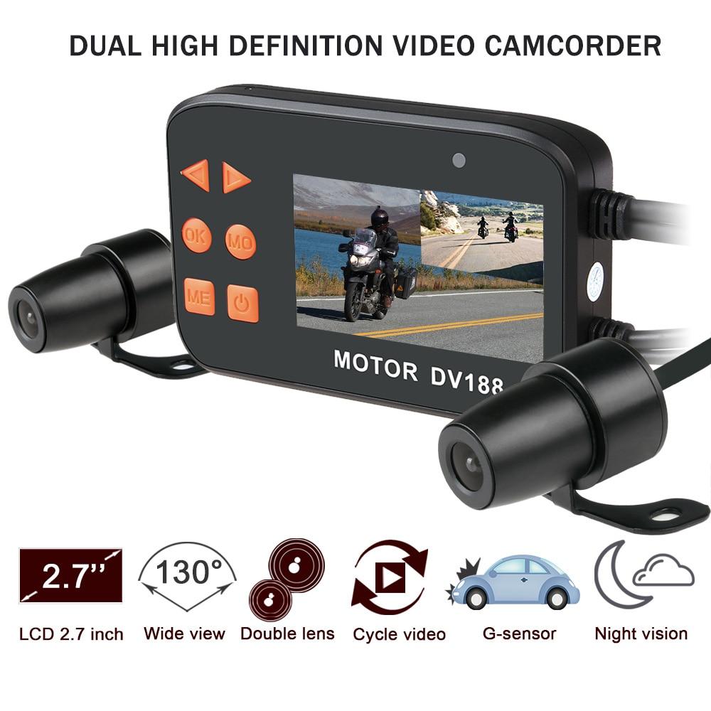 цены Fodsports DV188 Full 1080P Motorcycle DVR Waterproof Motorbike Camera Car Vehicle Cam Dual Lens Dashcam Moto Video Camcorder