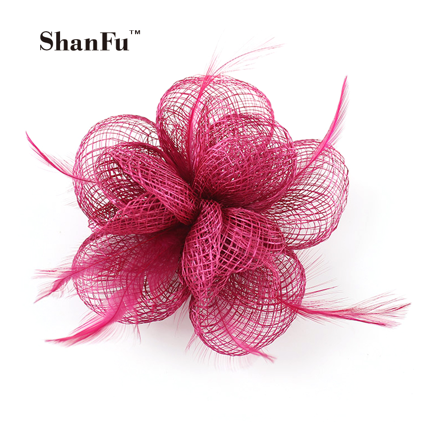 Women Red Hessian Small Flower Fascinator Fancy Hair Decoration Sinamay Brooch for Church/Wedding/Party SFB6827