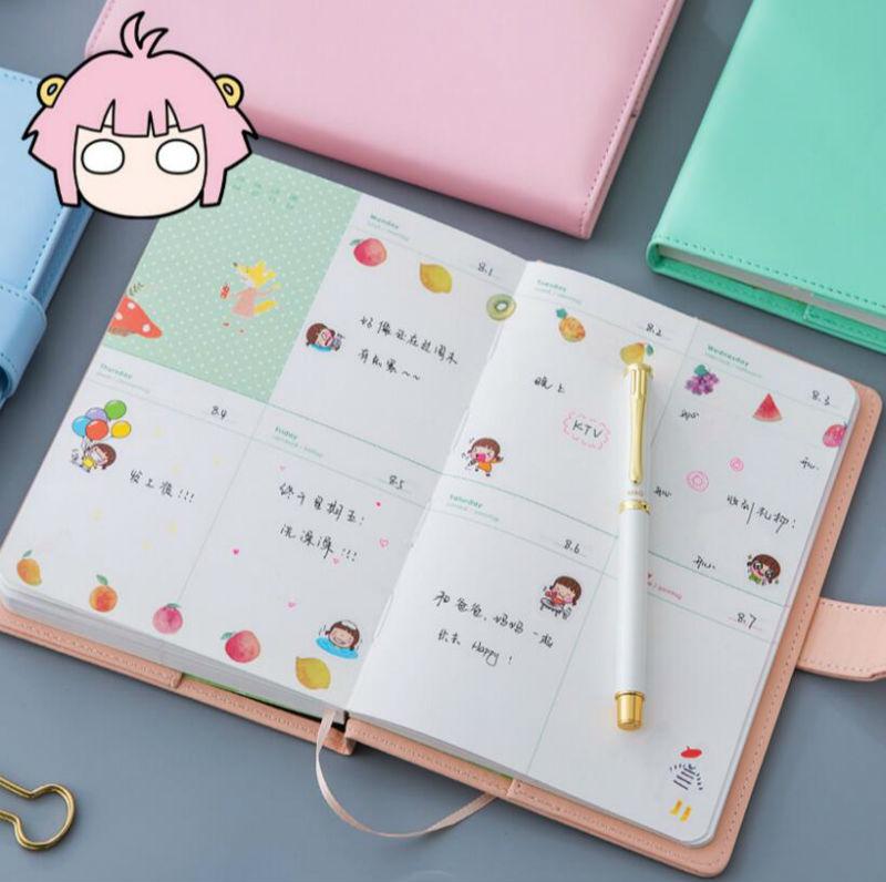 Creative Korean Handbook Notebook Candy Pu Cover Diary Schedules 116 Sheet Office School Supplies Sketchbook DD636 dobson c french verb handbook