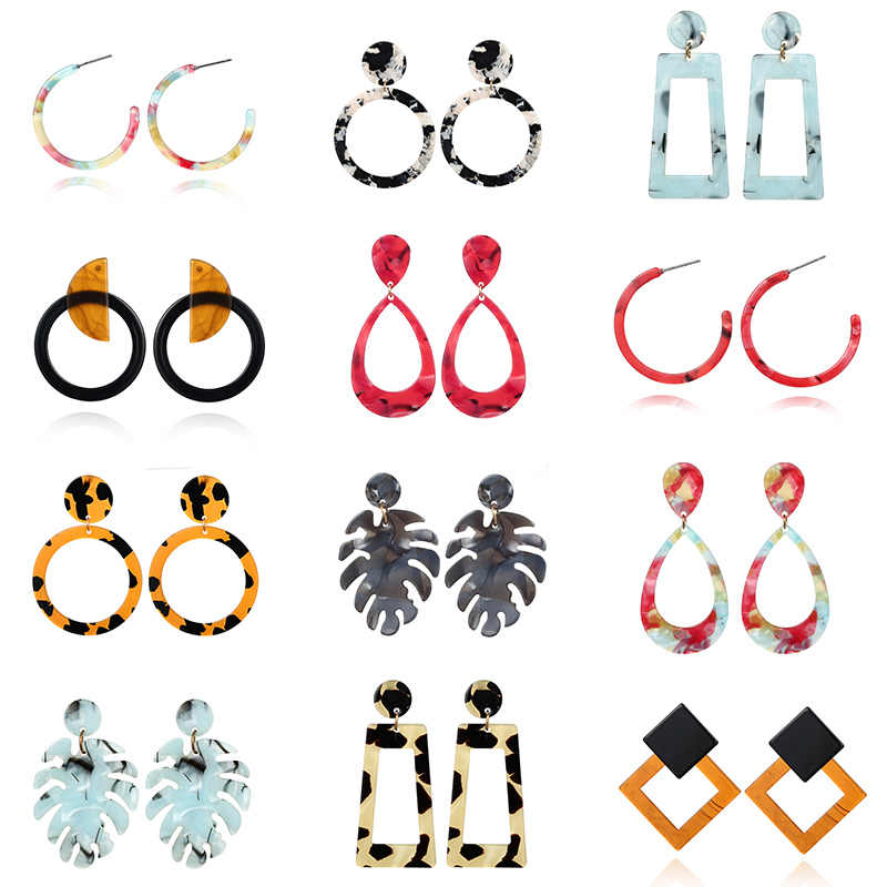 2019 Women's Earrings Fashion Acrylic Leopard Cord Acetate Geometric Round Square Drop Earrings for Girl Jewelry Gifts