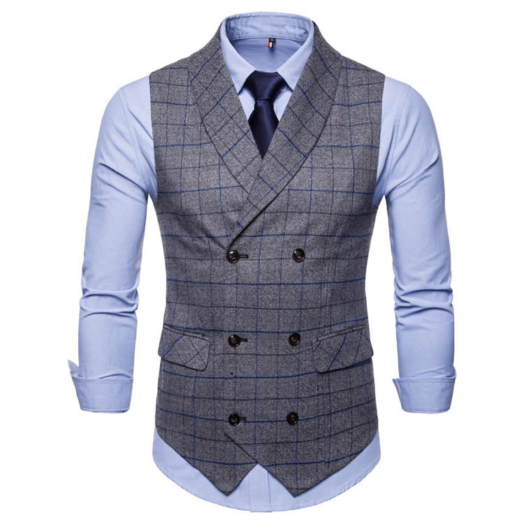 double breasted suit waistcoat men gilet homme new classic. Black Bedroom Furniture Sets. Home Design Ideas