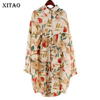 XITAO Retro Plant Flower Pocket Midi Dress Summer Clothes for Women Full Sleeve Cardigan Pullover 2019 New Casual WBB4135