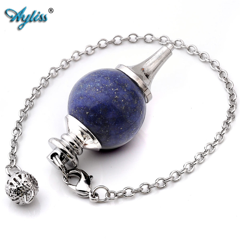 Ayliss Hot Style 1 pc Pendulum Divination Healing Point Chakra Ball Bead Wicca Chain Pendant Jewewlry Barwiona Lapis Lazuli