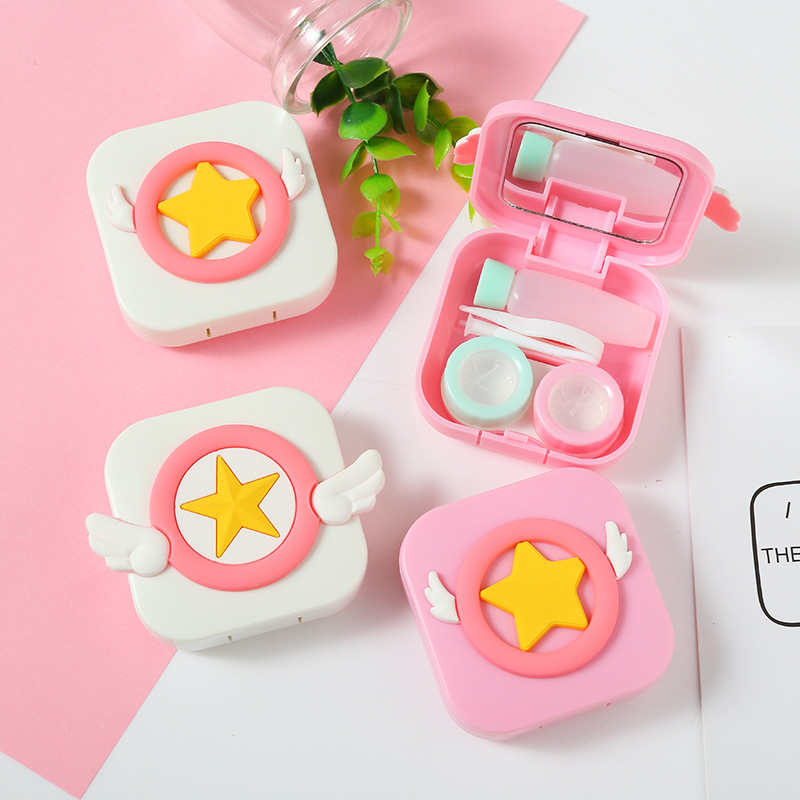 Cute Cartoon Girl Contact Lens Box Travel Glasses Lenses Case For Eyes Care Kit Holder Container Gift Beautiful Pupil Box