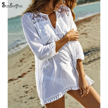 White Casual Beach Cotton Dress 2019 Bohemian Tunic For V-neck Lace Patchwork Shirt Vestidos Mujer  Sarong