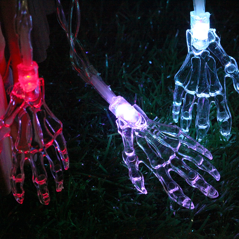 Halloween Skeleton Hand 1.2M 10leds LED Fairy String Lights Copper Home Outdoor Decoration Holiday Party Christmas Light