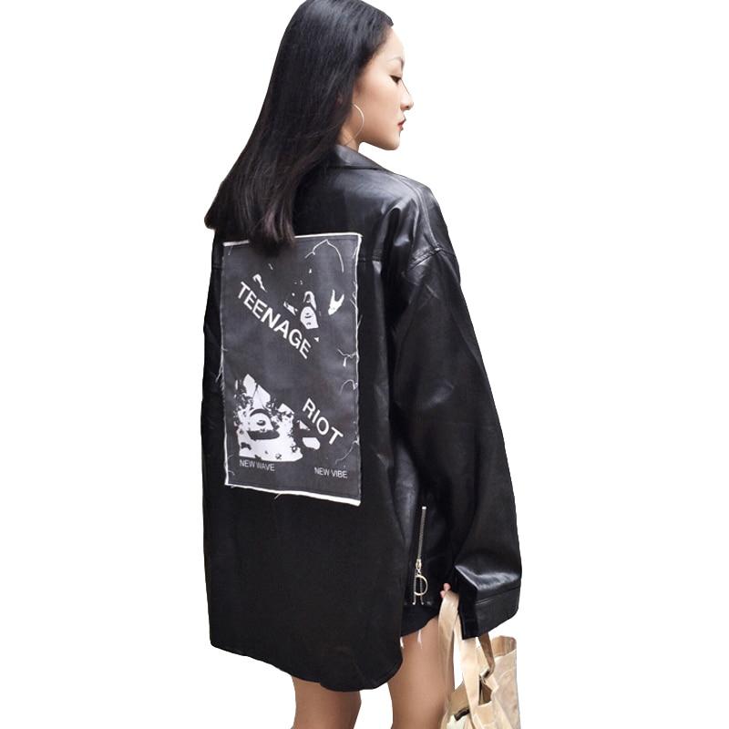 Harajuku Windbreaker Women's PU   Jacket   2019 Spring Long Sleeve Leather   Jackets   For Women Back Patch Printing   Basic   Female   Jacket