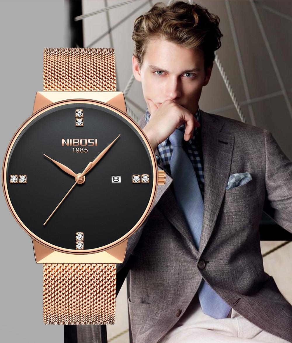NIBOSI 2018 New Fashion Simple Watch Slim Mesh Band Mens Dress Watches Top Brand Luxury Male Relogio Masculino Quartz Wristwatch (2)