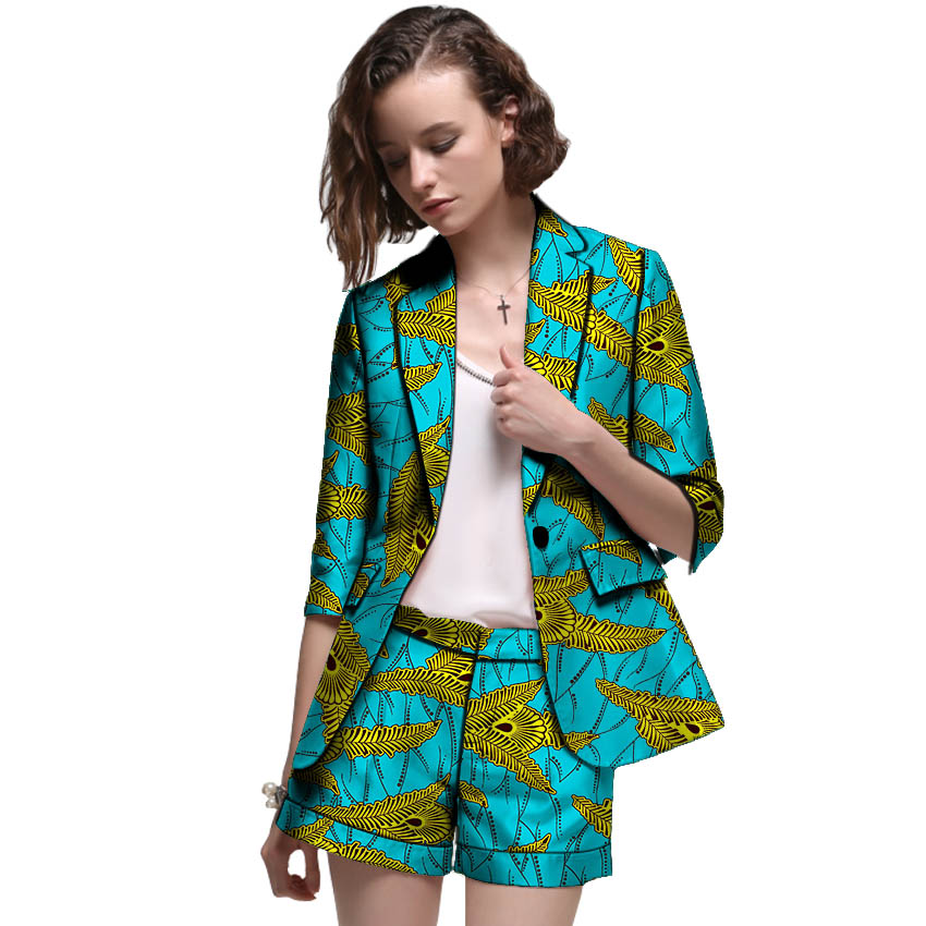 African Clothes Women Print Suits Blazers With Shorts Ankara Fashion Short Suits Customized Wedding Female Formal Outfits
