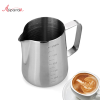 Asipartan Stainless Steel Milk Frothing Jugs Espresso Coffee Pitcher Measuring Cup Milk Foam Container Barista Pull