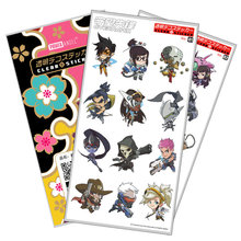 PowerAngel Plastic Stickers Hot Game OW JUNKRUT SOLDIER 76 LUCIO MERCY For Phone Laptop Book Art Sticker dowin ow about size 10cm action figure tracer game widow maker d va mei genji hanzo mccree soldier 76 bastion