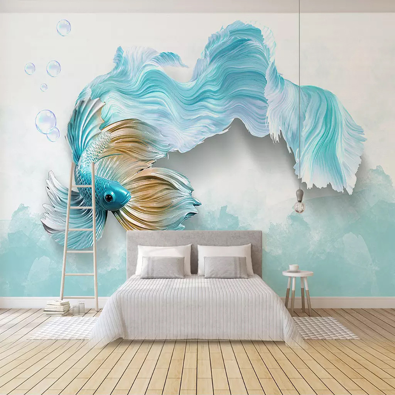 Photo Wallpaper Modern 3D Abstract Blue Peacock Fish Mural Living Room TV Sofa Background Wall Papers For Walls 3 D Home Decor
