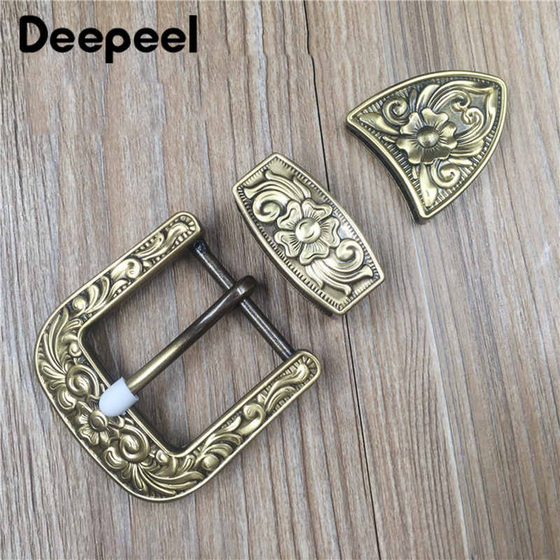 Deepeel 1set(3pcs) 35/40mm Solid Brass High Quality Carved Pin Belt Buckle Head Jeans Accessory DIY Leather Craft Hardware Decor