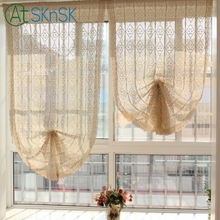 Nice Countryside style beige handmade crochet cotton curtain lace splice translucidus home decor window curtains for living room