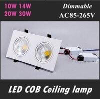 Super Heldere Verzonken LED Dimbare 2 Hoofd Vierkante COB Downlight Dimbare 10 W 14 W 20 W 30 W Plafond Downlights Spot Lights110V 220 V
