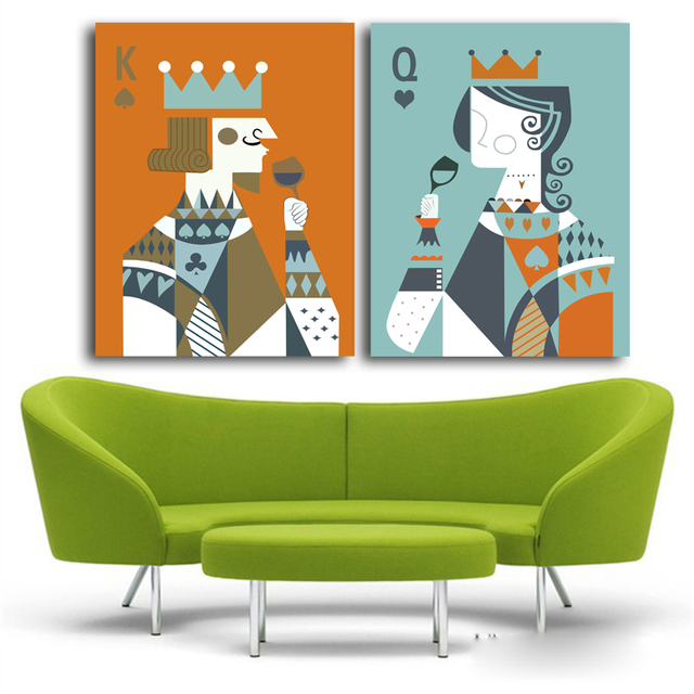 Queen King Of Poker Home Decor Canvas Painting Wall Art Ideas Prints