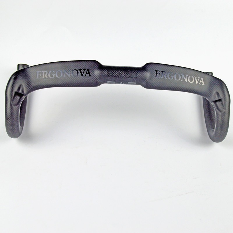 ERGONOVA Full Carbon Fiber Road Bicycle Handlebar Carbon Road Handlebar 3K Matte Carbon Compact Handlebar