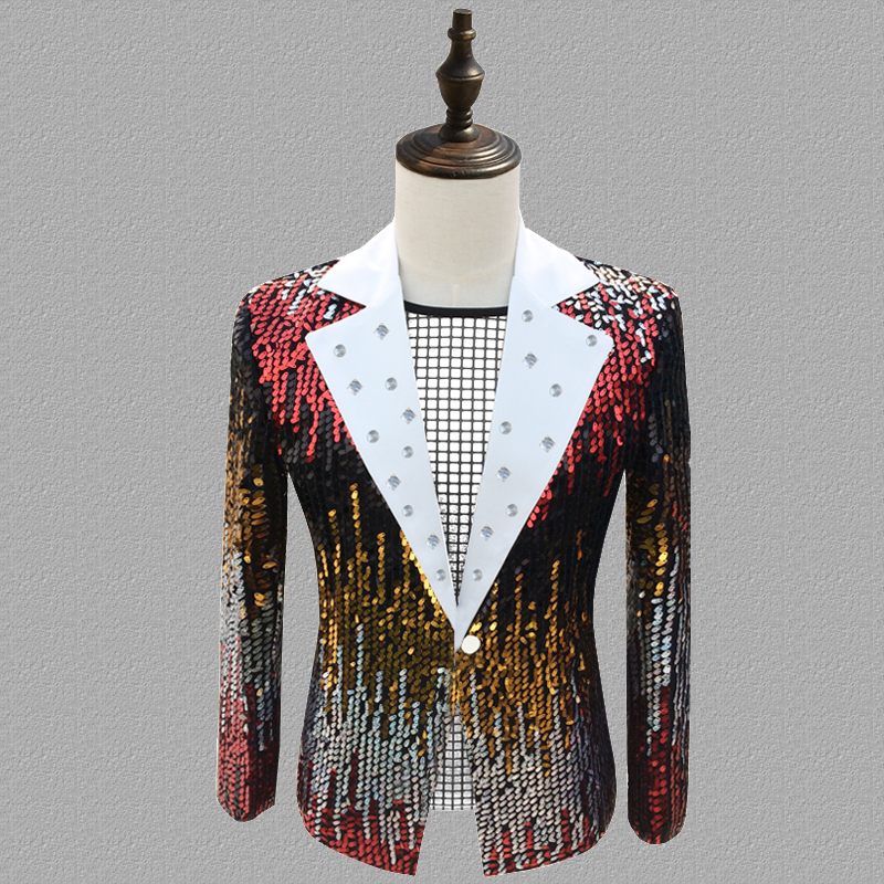 Sequins Blazer Men Suits Tassel Jacket Mens Stage Personality Singers Clothes Dance Star Style Dress Punk Rock Masculino